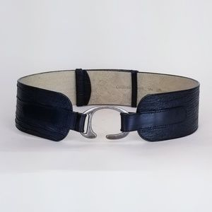 Black Leather Wide Belt S/M Coldwater Creek